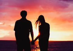 sunset lovers - stock photo