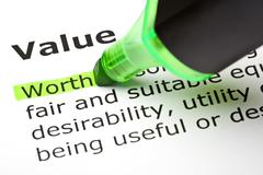 'worth' highlighted, under 'value' - stock photo