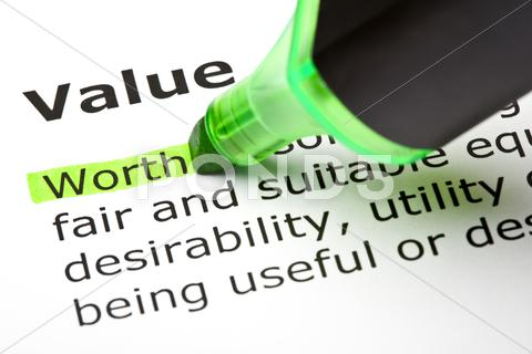 Stock photo of 'worth' highlighted, under 'value'