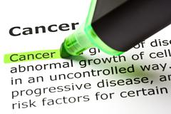 'cancer' highlighted in green Stock Photos