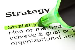 'strategy' highlighted in green - stock photo