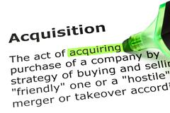 'acquiring' highlighted, under 'acquisition' - stock photo