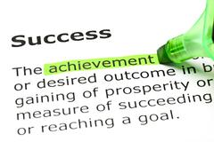 'achievement' highlighted, under 'success' - stock photo