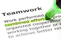 'combined effort' highlighted, under 'teamwork' Stock Photos