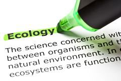 'ecology' highlighted in green - stock photo