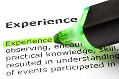 'experience' highlighted in green Stock Photos
