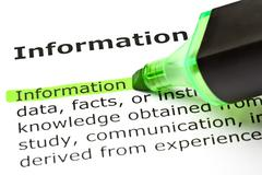 'information' highlighted in green - stock photo