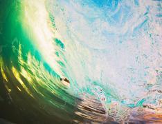 sunset wave - stock photo