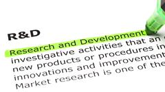 'research and development' highlighted in green - stock photo
