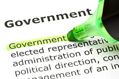 'government' highlighted in green Stock Photos