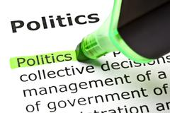 'politics' highlighted in green Stock Photos