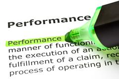 'performance' highlighted in green Stock Photos