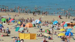 Crowded Beach in Summer - stock footage