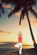 Beautiful yoga woman at sunset Stock Photos