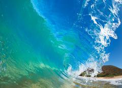 Beautiful sunny blue wave Stock Photos