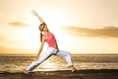 silhouette of a beautiful yoga woman - stock photo