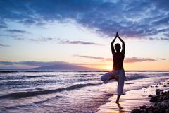 Silhouette of a beautiful yoga woman Stock Photos
