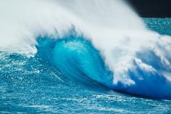 Beautiful blue ocean wave Stock Photos