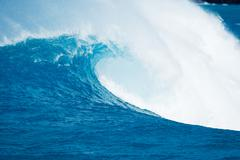 beautiful blue ocean wave - stock photo