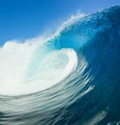 blue ocean wave, view from in the water - stock photo