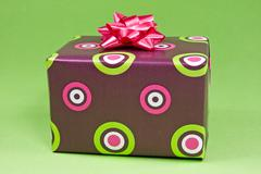 Stock Photo of gift box on the green background