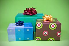 Stock Photo of three colorful gifts