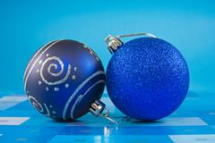 two  christmas baubles - stock photo