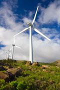 windmills with blue sky - stock photo