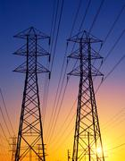 electric power transmission lines - stock photo