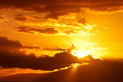 golden sunset clouds - stock photo