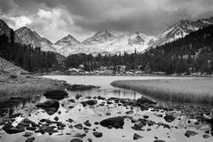 dramatic landscape, mountain in black and white - stock photo
