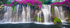 beautiful lush waterfall - stock photo