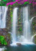 waterfall in hawaii - stock photo