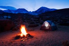 Camping in the mountains Stock Photos