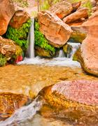 beautiful desert waterfall - stock photo