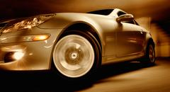 fast sports car with motion blur - stock photo