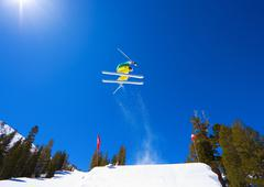 Skier gets big air off jump Stock Photos