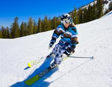 Skier having fun on the mountain Stock Photos