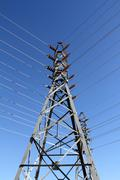 High Tension Tower Symmetry Stock Photos