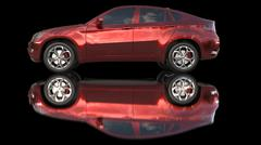 red car with ground reflection - stock illustration