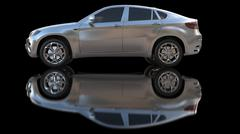 Silver car with ground reflection Stock Illustration
