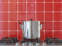 kitchen background, pot on gas stove - stock photo