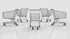 Shopping cart against white Stock Illustration