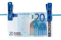 twenty euro  hung on a washing line - stock photo