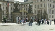 Stock Video Footage of people in front of the Prague Castle