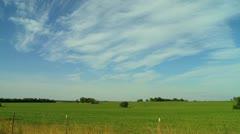 Kansas farm field pan left - stock footage