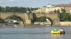 Pedalo car  tourism at the vltava river Stock Footage