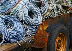 Coils of nautical rope on old rusty trailer  newport, oregon coast Stock Photos