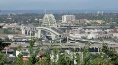 Freemont Bridge in Portland Oregon Northwest Downtown Cityscape 1920x1080 Stock Footage