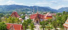 buddhist temple wat chalong, thailand, phuket - stock photo
